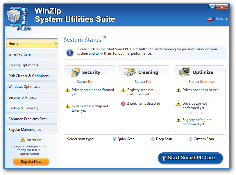 WinZip System Utilities Suite windows