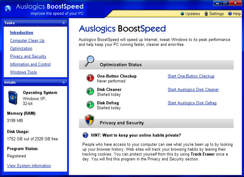 Auslogics BoostSpeed windows