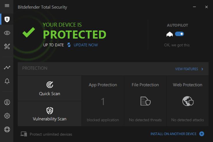 Bitdefender Total Security windows