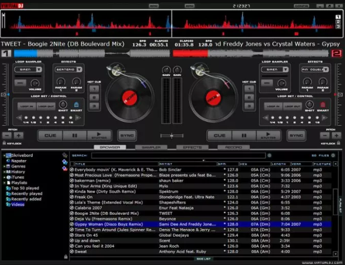 Virtual DJ windows