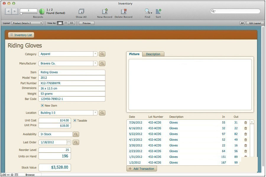FileMaker Pro windows