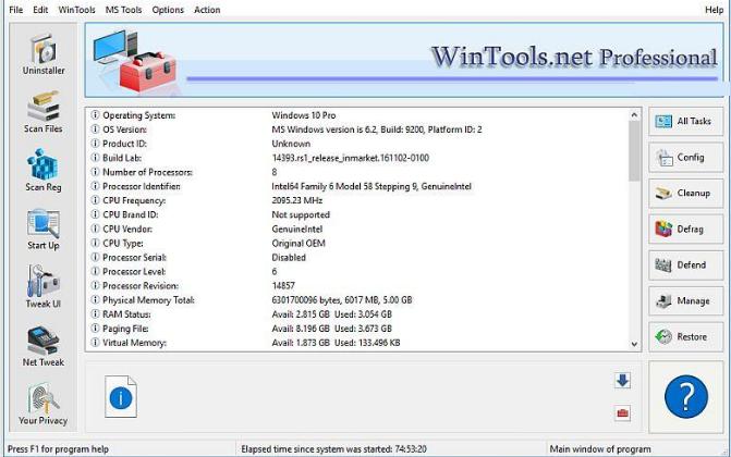 WinTools Net Professional windows