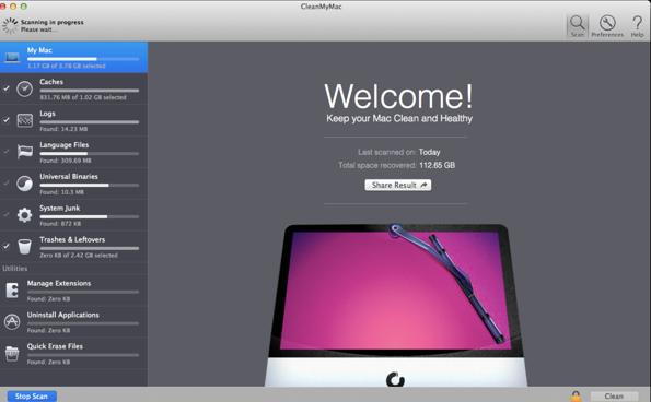 CleanMyMac windows