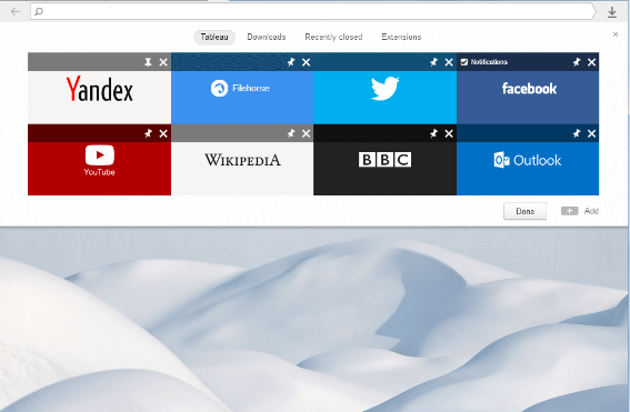 Yandex Browser windows