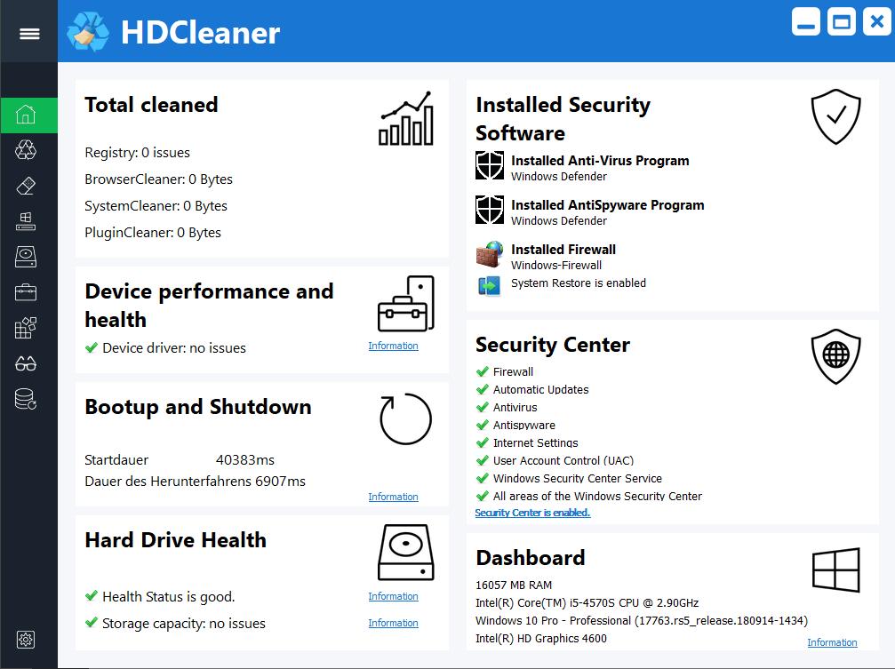 HDCleaner windows