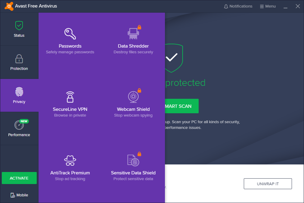 Avast Free Antivirus windows