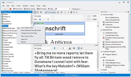 FontExpert windows