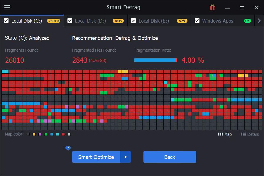 Smart Defrag windows