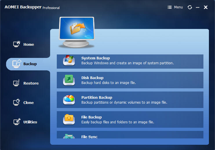AOMEI Backupper Professional windows