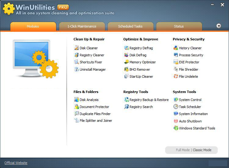 WinUtilities Professional Edition windows