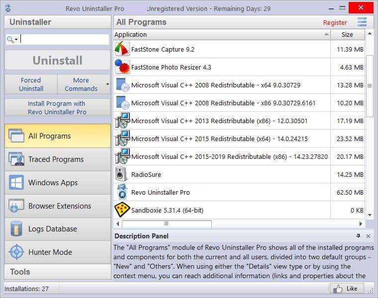 Revo Uninstaller Pro windows