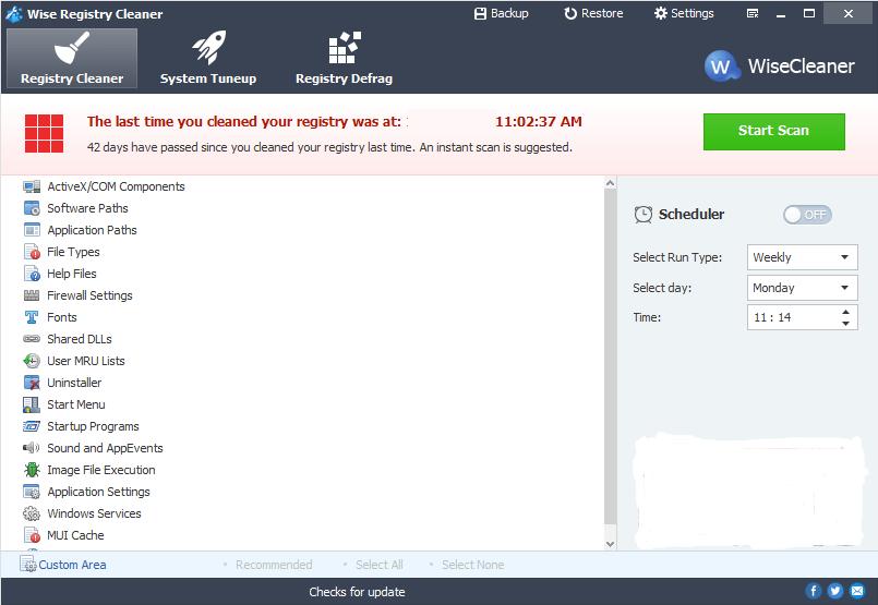 Wise Registry Cleaner windows